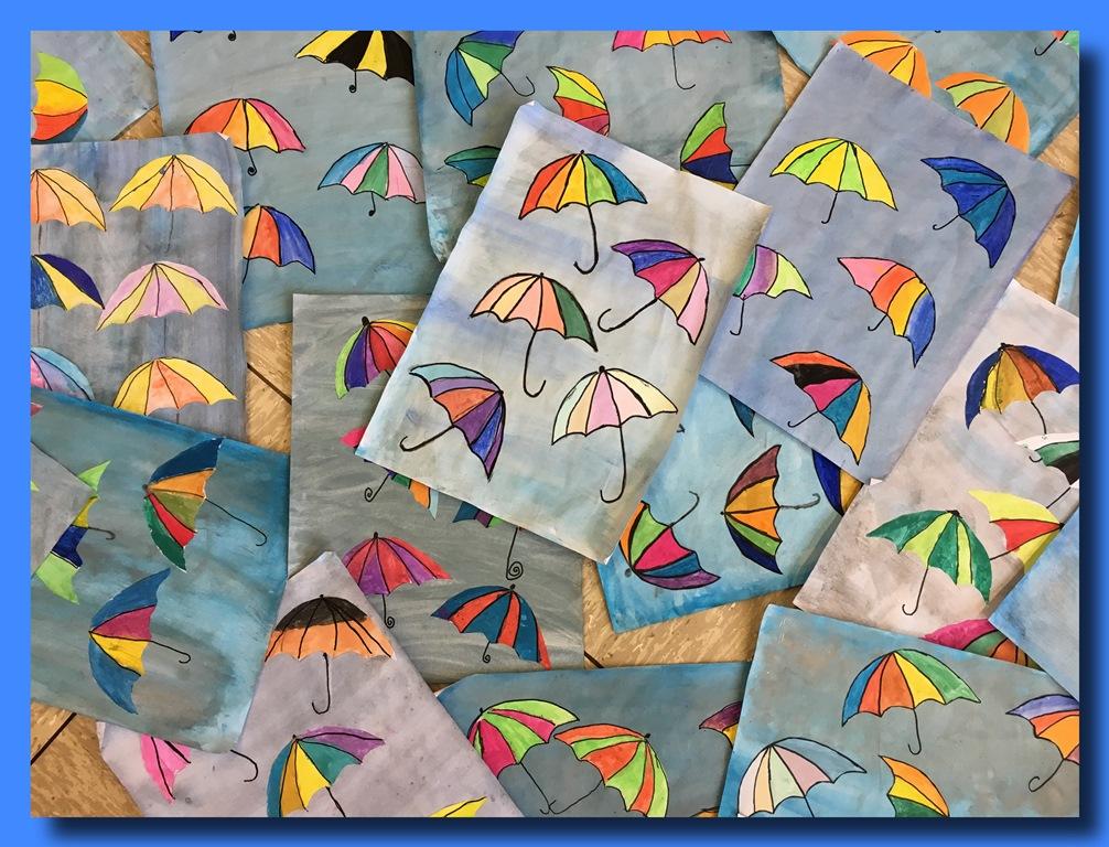 Mit bunten Schirmen kann auch Regen schön sein!